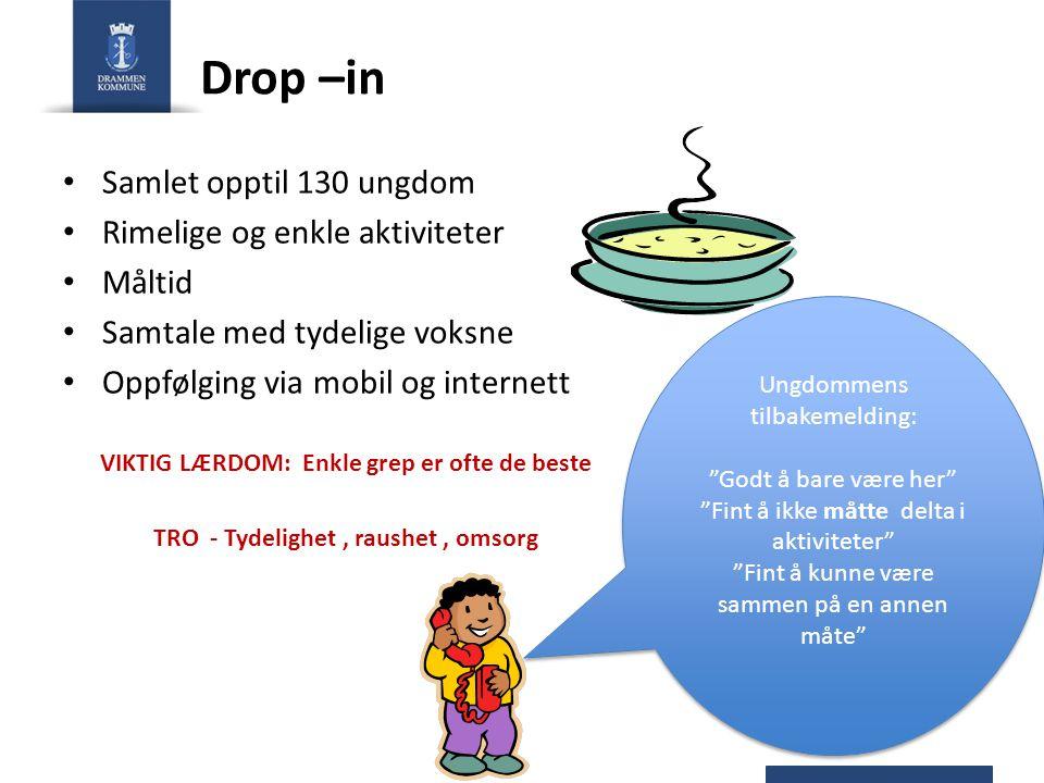 Drop –in Samlet opptil 130 ungdom Rimelige og enkle aktiviteter Måltid Samtale med tydelige voksne Oppfølging via mobil og internett VIKTIG LÆRDOM: En
