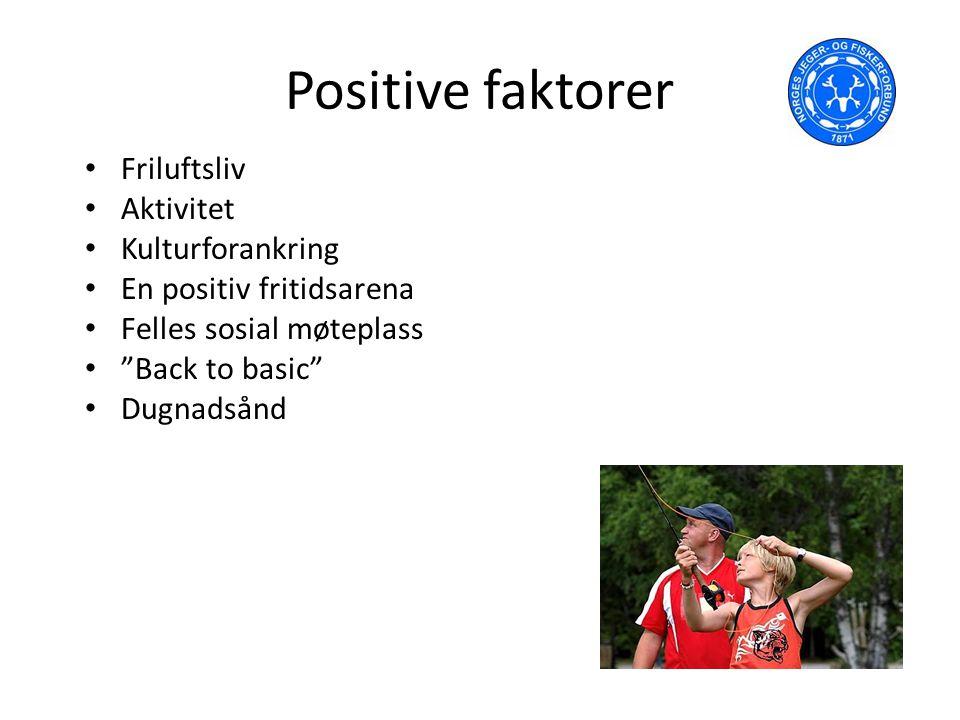 Positive faktorer Friluftsliv Aktivitet Kulturforankring En positiv fritidsarena Felles sosial møteplass Back to basic Dugnadsånd