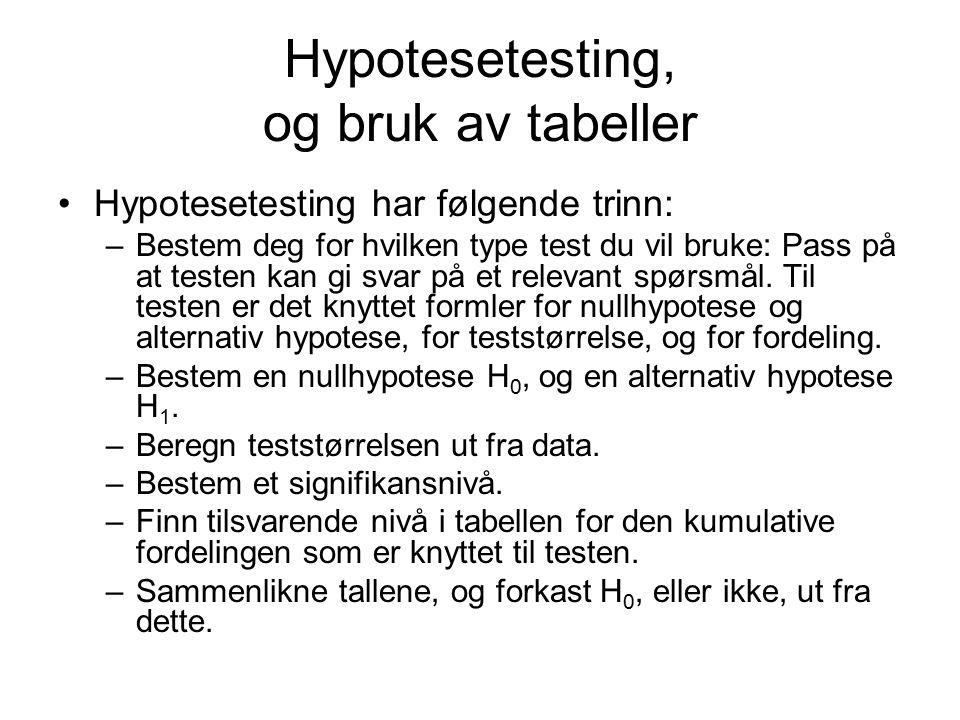 Hypotesetesting, og bruk av tabeller Hypotesetesting har følgende trinn: –Bestem deg for hvilken type test du vil bruke: Pass på at testen kan gi svar