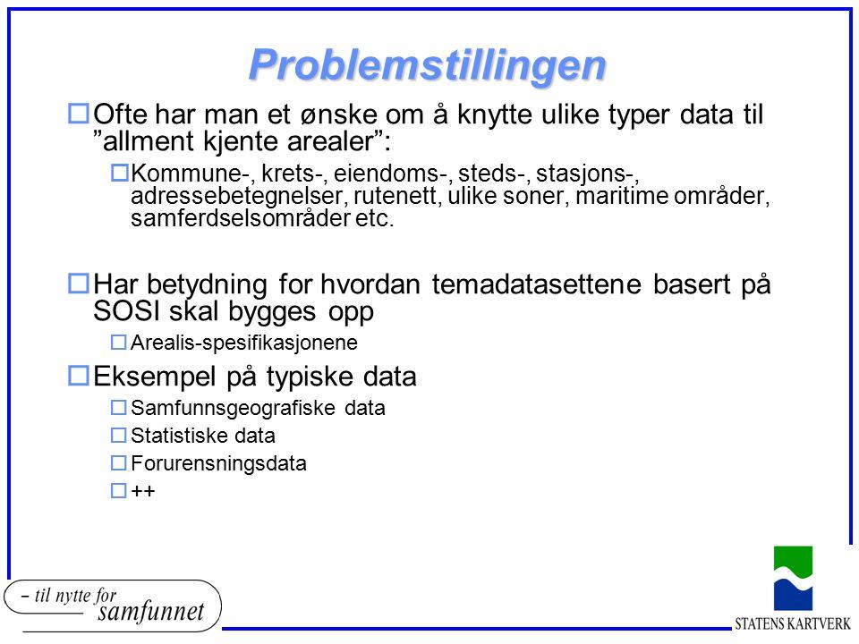 """Problemstillingen oOfte har man et ønske om å knytte ulike typer data til """"allment kjente arealer"""": oKommune-, krets-, eiendoms-, steds-, stasjons-, a"""