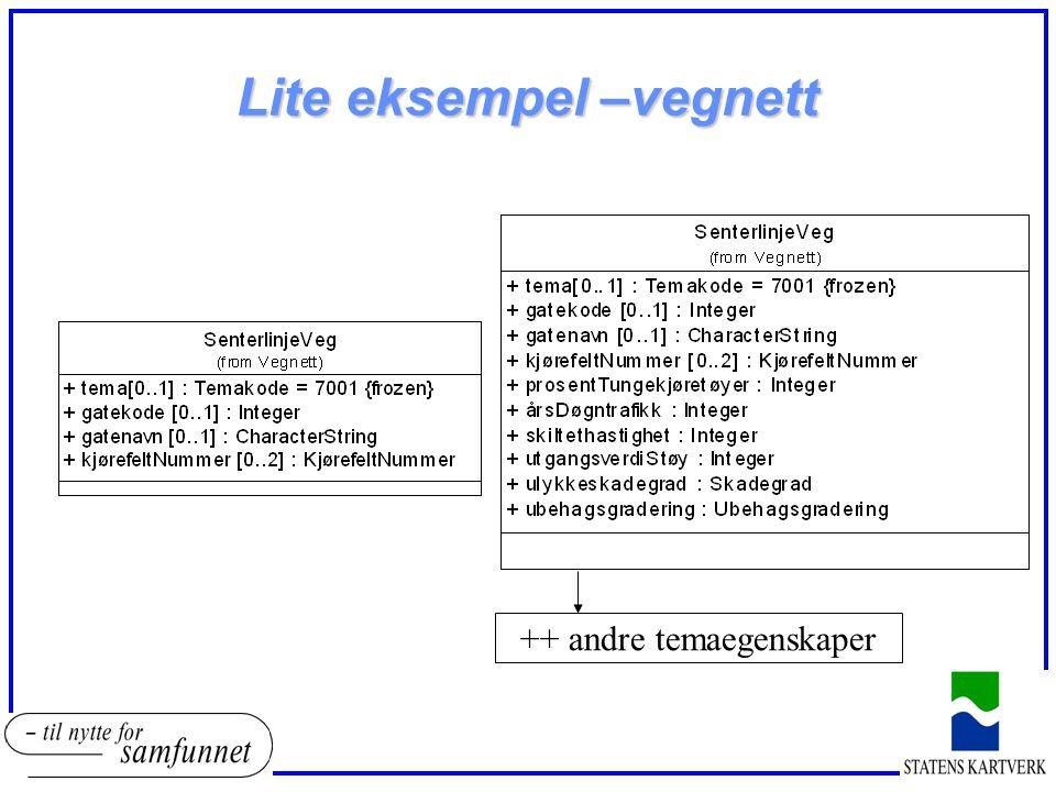 Lite eksempel –vegnett ++ andre temaegenskaper