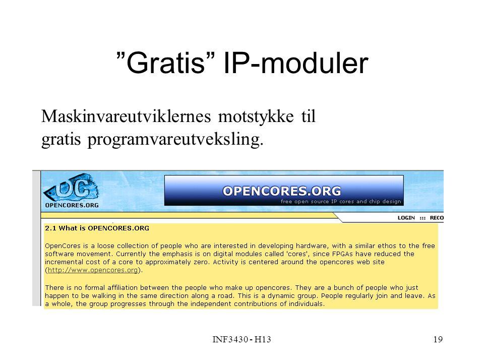 INF3430 - H1319 Gratis IP-moduler Maskinvareutviklernes motstykke til gratis programvareutveksling.