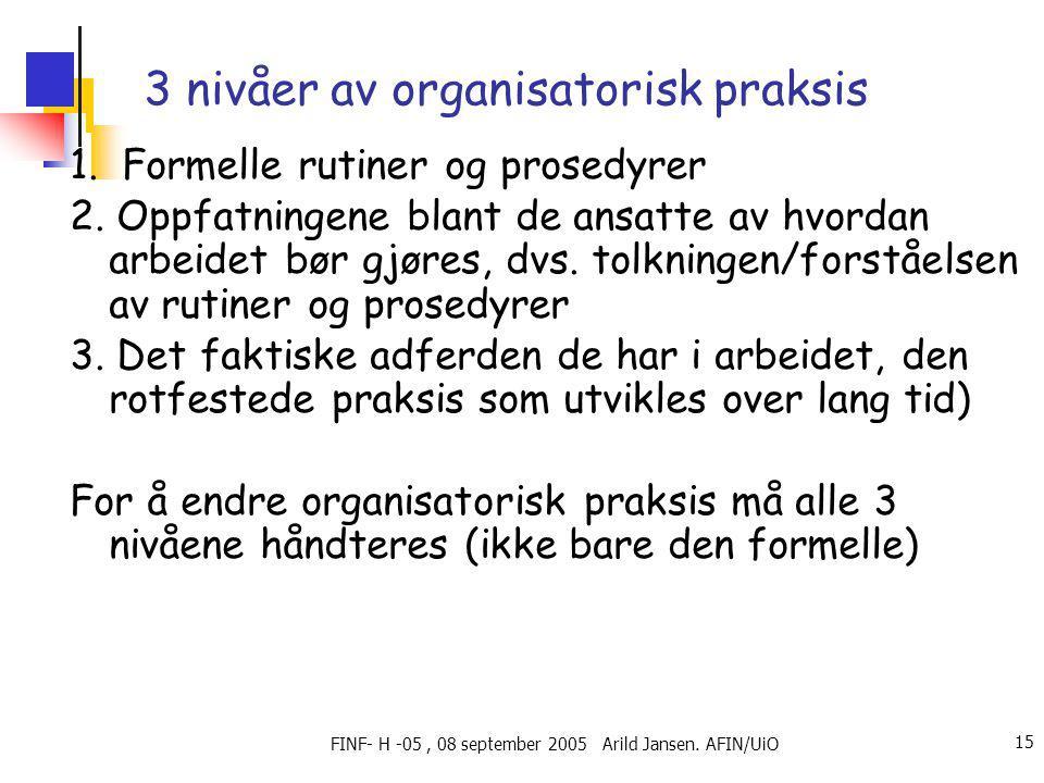 FINF- H -05, 08 september 2005 Arild Jansen. AFIN/UiO 15 3 nivåer av organisatorisk praksis 1.