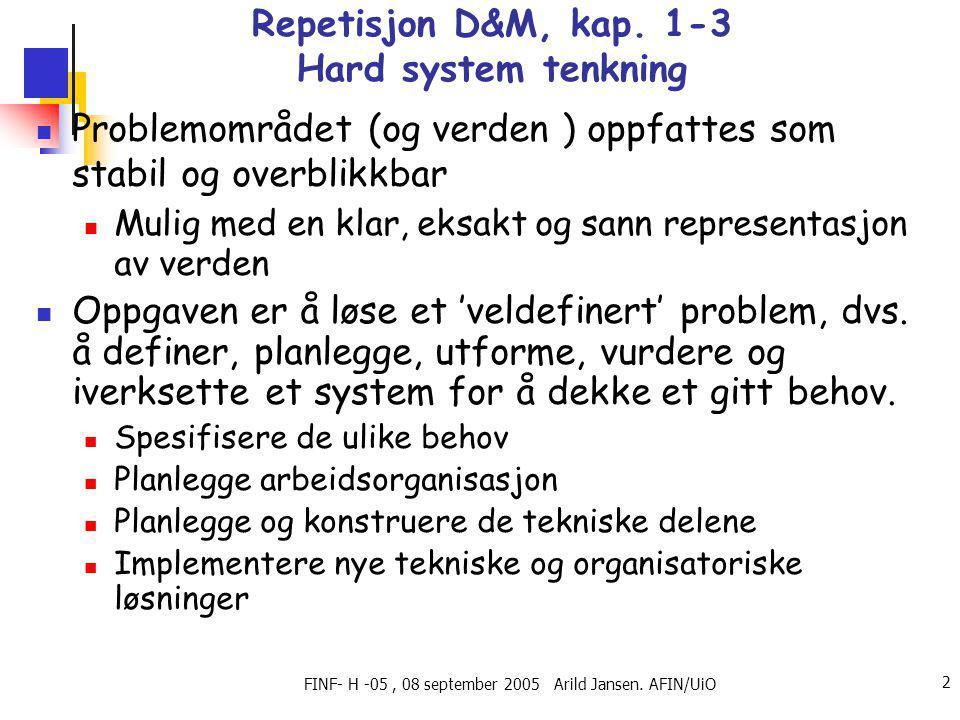 FINF- H -05, 08 september 2005 Arild Jansen. AFIN/UiO 2 Repetisjon D&M, kap.