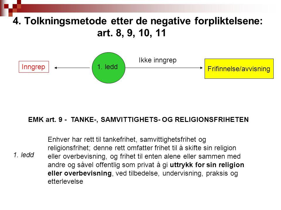 4. Tolkningsmetode etter de negative forpliktelsene: art. 8, 9, 10, 11 Ikke inngrep Inngrep 1. ledd Frifinnelse/avvisning Enhver har rett til tankefri