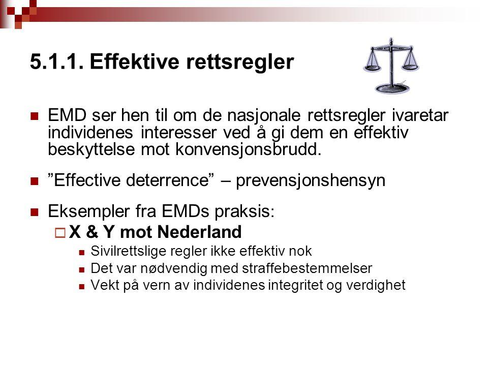 5.1.1. Effektive rettsregler EMD ser hen til om de nasjonale rettsregler ivaretar individenes interesser ved å gi dem en effektiv beskyttelse mot konv