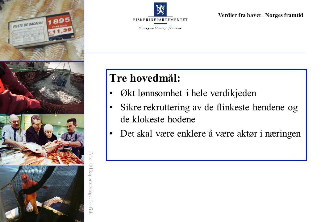 Norwegian Ministry of Fisheries Verdier fra havet - Norges framtid Tre hovedmål: Økt lønnsomhet i hele verdikjeden Sikre rekruttering av de flinkeste