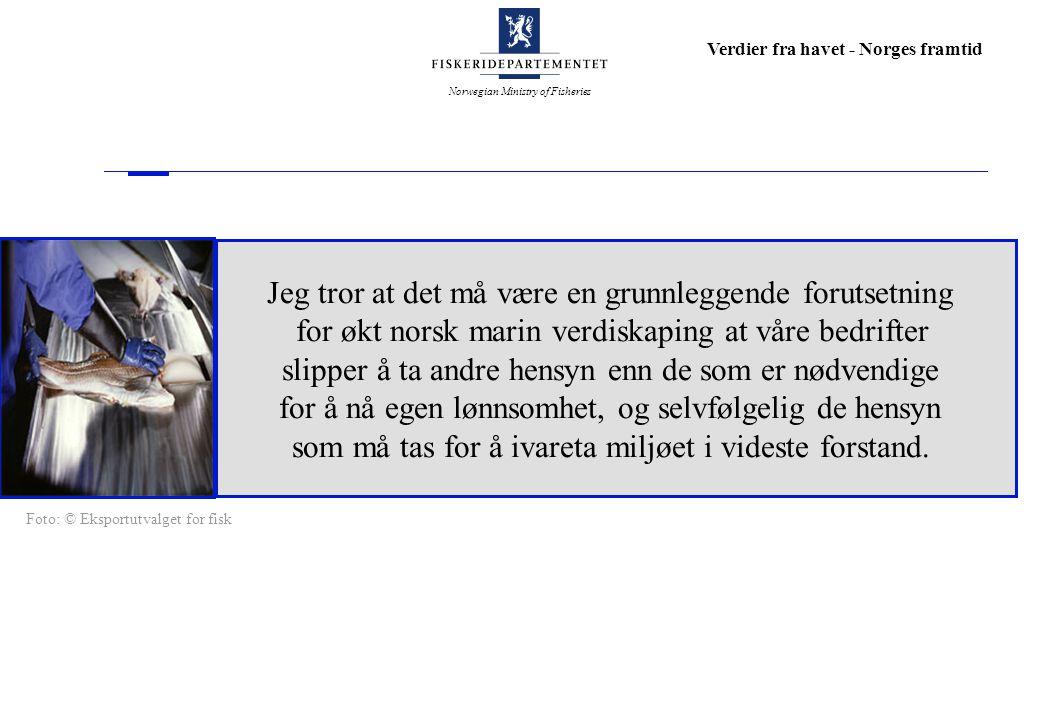Norwegian Ministry of Fisheries Verdier fra havet - Norges framtid Jeg tror at det må være en grunnleggende forutsetning for økt norsk marin verdiskap