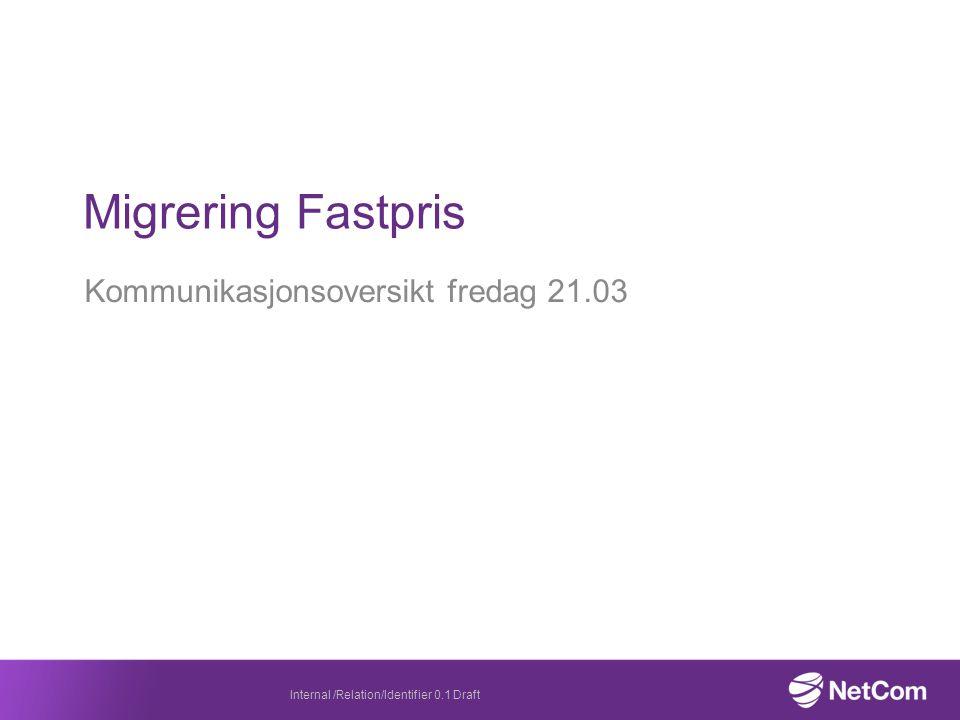 Kommunikasjonsoversikt fredag 21.03 Migrering Fastpris Internal /Relation/Identifier 0.1 Draft