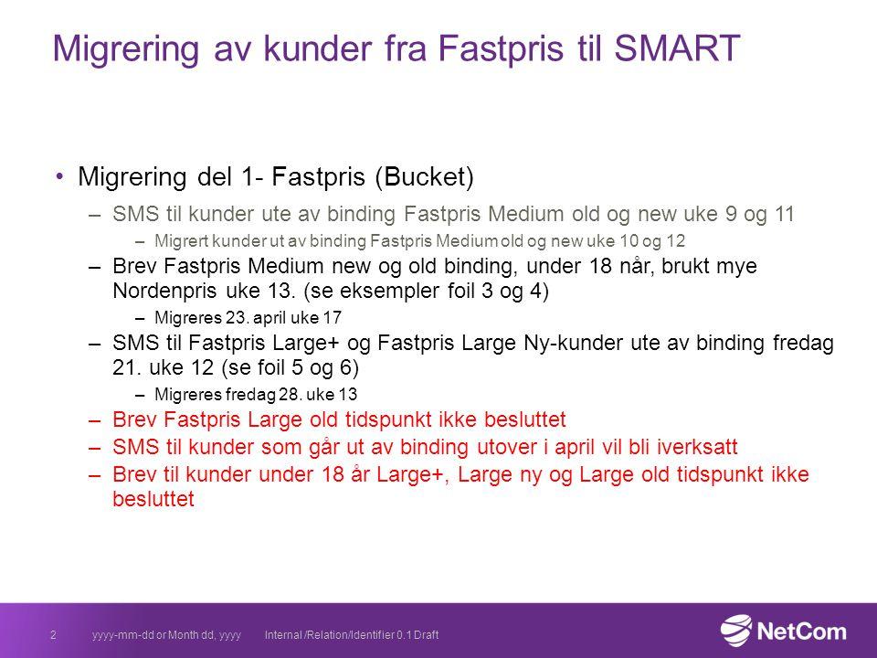 Migrering av kunder fra Fastpris til SMART Migrering del 1- Fastpris (Bucket) –SMS til kunder ute av binding Fastpris Medium old og new uke 9 og 11 –M