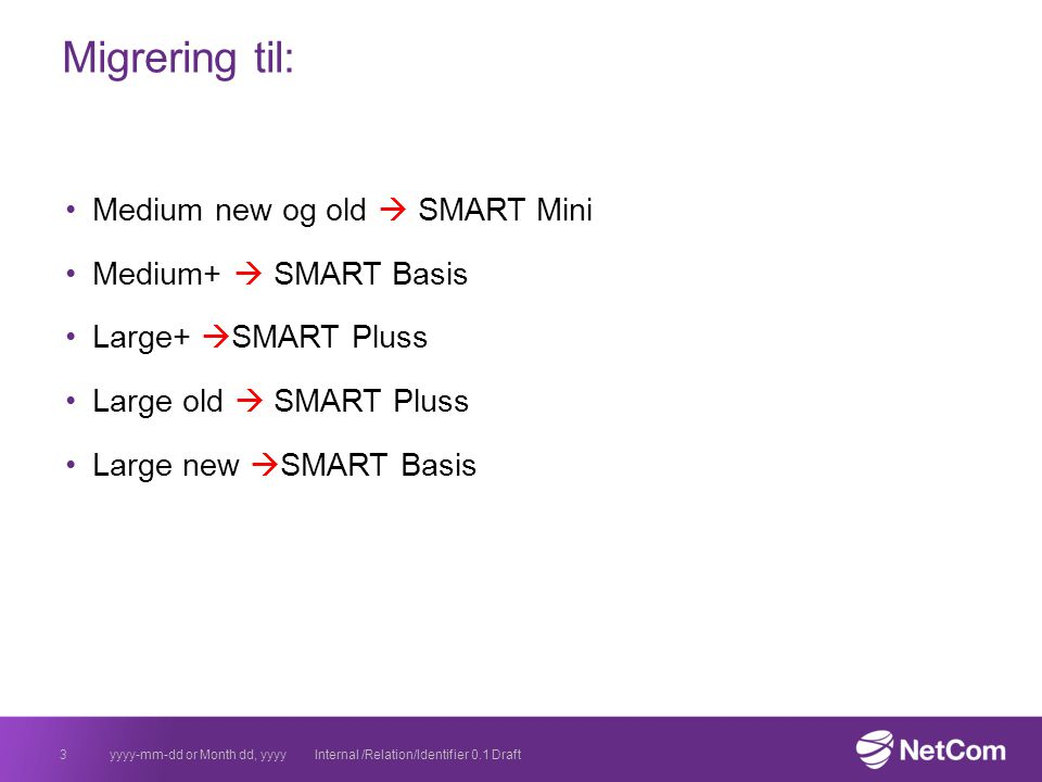Migrering til: Medium new og old  SMART Mini Medium+  SMART Basis Large+  SMART Pluss Large old  SMART Pluss Large new  SMART Basis yyyy-mm-dd or