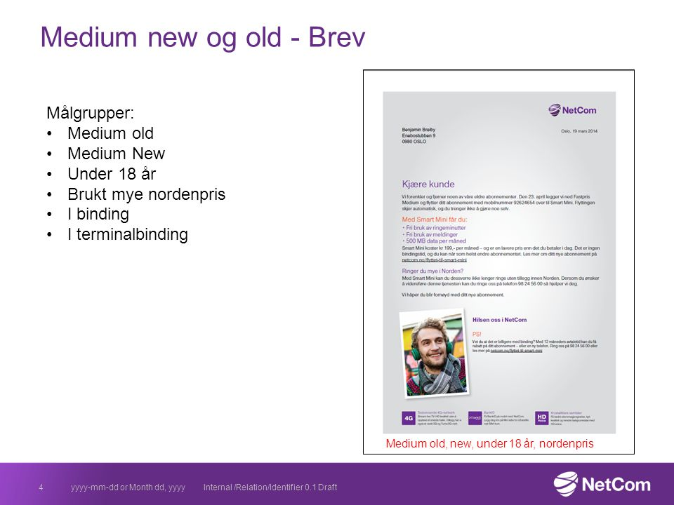 Medium new og old - Brev 4yyyy-mm-dd or Month dd, yyyyInternal /Relation/Identifier 0.1 Draft Målgrupper: Medium old Medium New Under 18 år Brukt mye