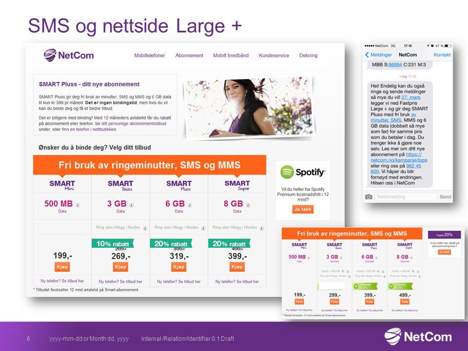 SMS og nettside Large ny yyyy-mm-dd or Month dd, yyyyInternal /Relation/Identifier 0.1 Draft7