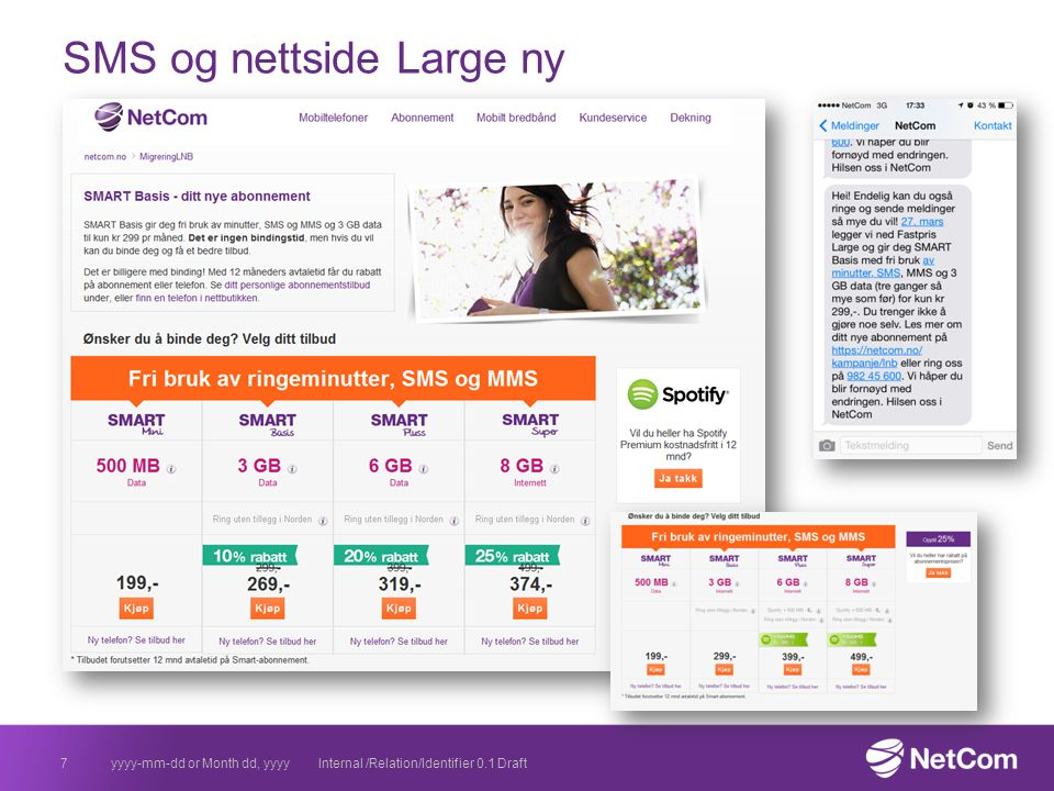SMS og nettside Large ny yyyy-mm-dd or Month dd, yyyyInternal /Relation/Identifier 0.1 Draft7