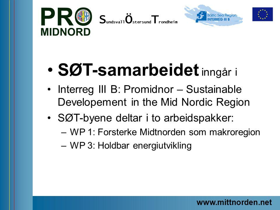 ProMidNord/SÖT – en förstudie SØT-samarbeidet inngår i Interreg III B: Promidnor – Sustainable Developement in the Mid Nordic Region SØT-byene deltar