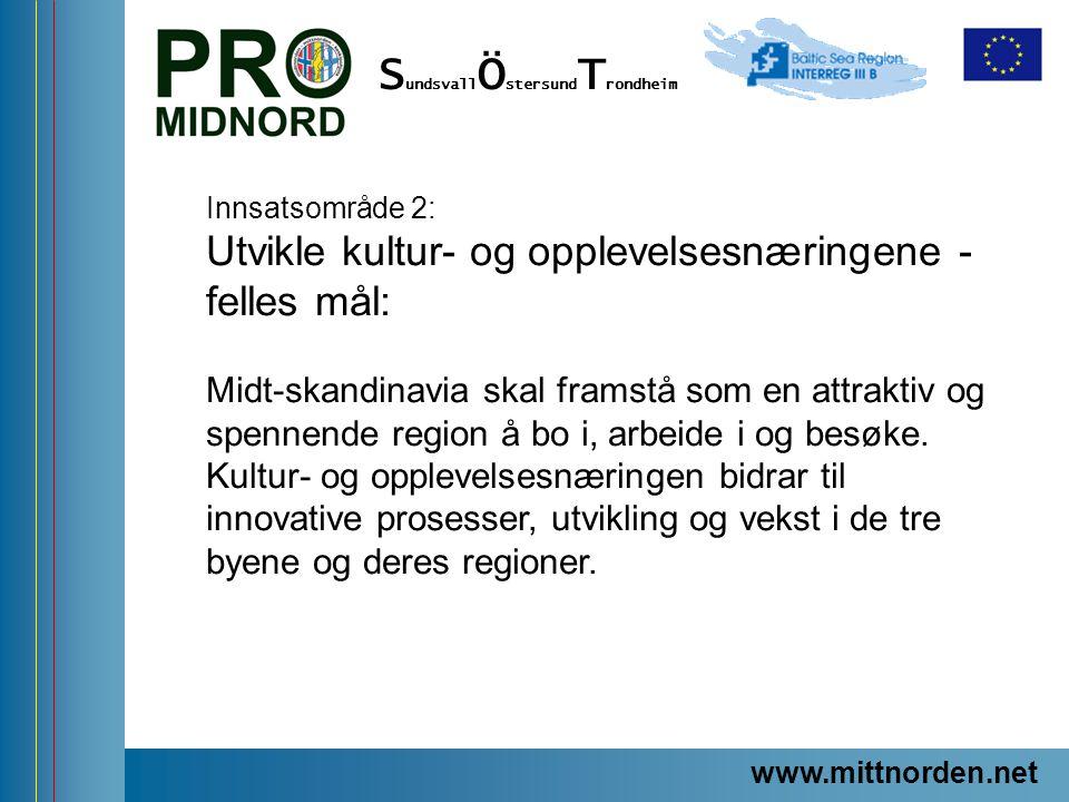 www.mittnorden.net S undsvall Ö stersund T rondheim Innsatsområde 2: Utvikle kultur- og opplevelsesnæringene - felles mål: Midt-skandinavia skal frams