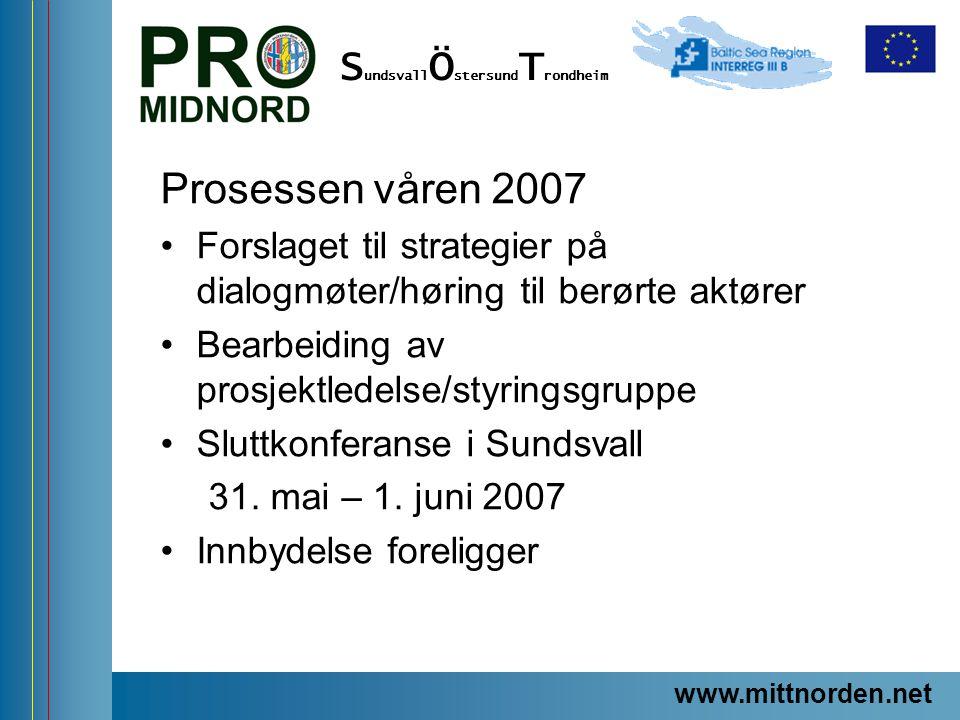 ProMidNord/SÖT – en förstudie Prosessen våren 2007 Forslaget til strategier på dialogmøter/høring til berørte aktører Bearbeiding av prosjektledelse/s