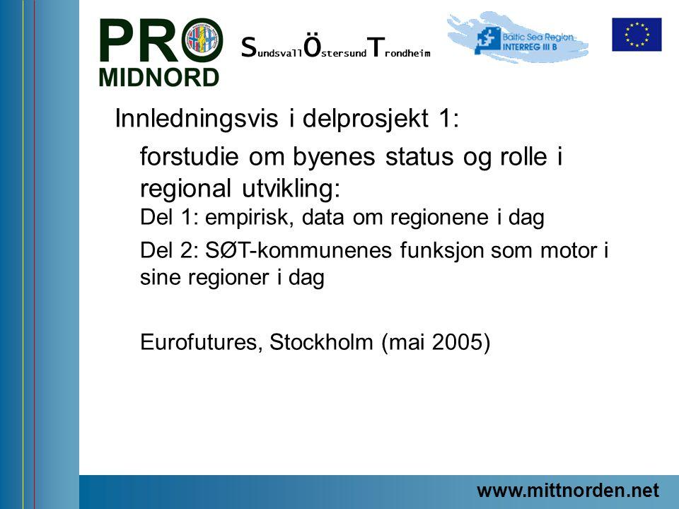 ProMidNord/SÖT – en förstudie Innledningsvis i delprosjekt 1: forstudie om byenes status og rolle i regional utvikling: Del 1: empirisk, data om regio
