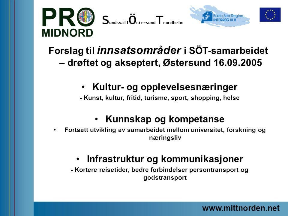 ProMidNord/SÖT – en förstudie Forslag til innsatsområder i SÖT-samarbeidet – drøftet og akseptert, Østersund 16.09.2005 Kultur- og opplevelsesnæringer
