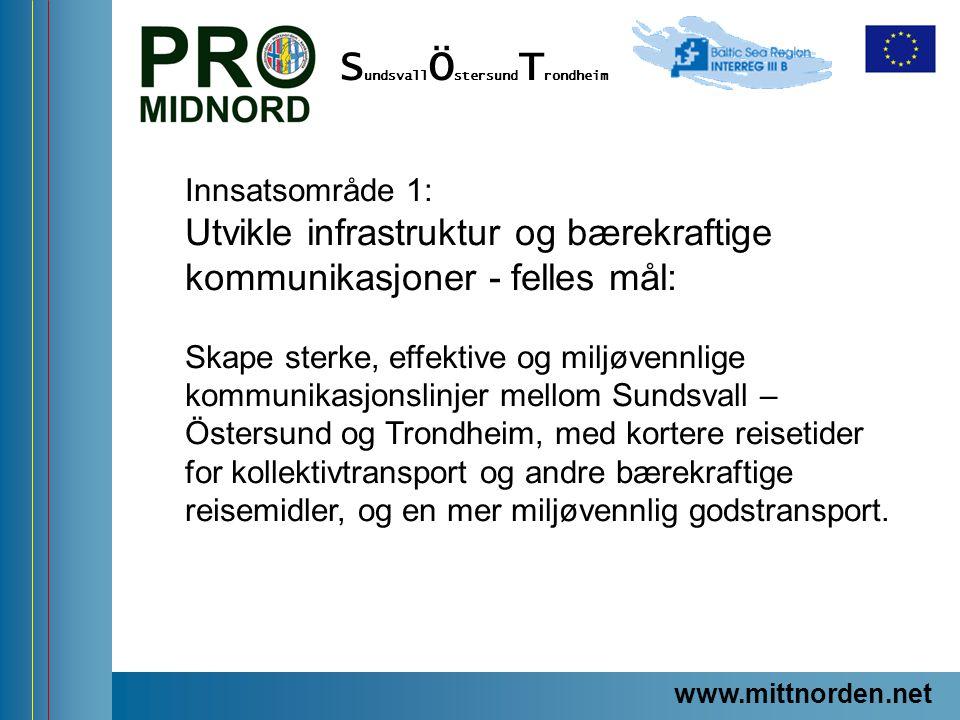 www.mittnorden.net S undsvall Ö stersund T rondheim Innsatsområde 1: Utvikle infrastruktur og bærekraftige kommunikasjoner - felles mål: Skape sterke,