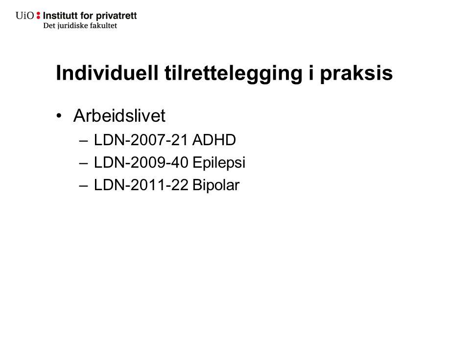 Individuell tilrettelegging i praksis Arbeidslivet –LDN-2007-21 ADHD –LDN-2009-40 Epilepsi –LDN-2011-22 Bipolar