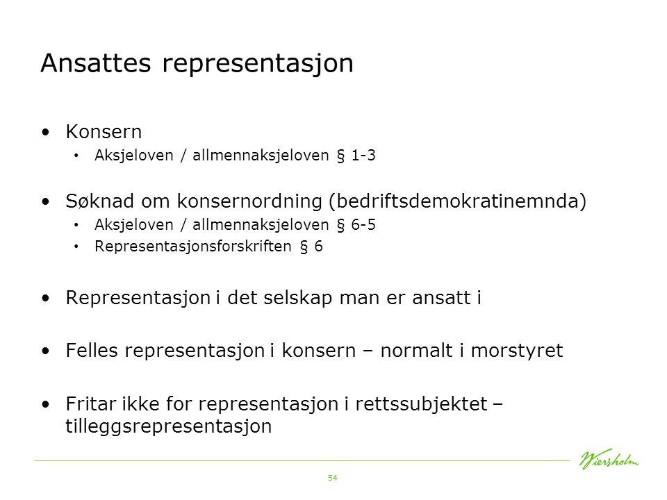 55 Ansattes representasjon Bedriftsdemokratinemnda Representasjonsforskriften kapittel V http://www.regjeringen.no/nb/dep/ad/kampanjer/bedriftsd emokratinemnda.html?id=210786http://www.regjeringen.no/nb/dep/ad/kampanjer/bedriftsd emokratinemnda.html?id=210786