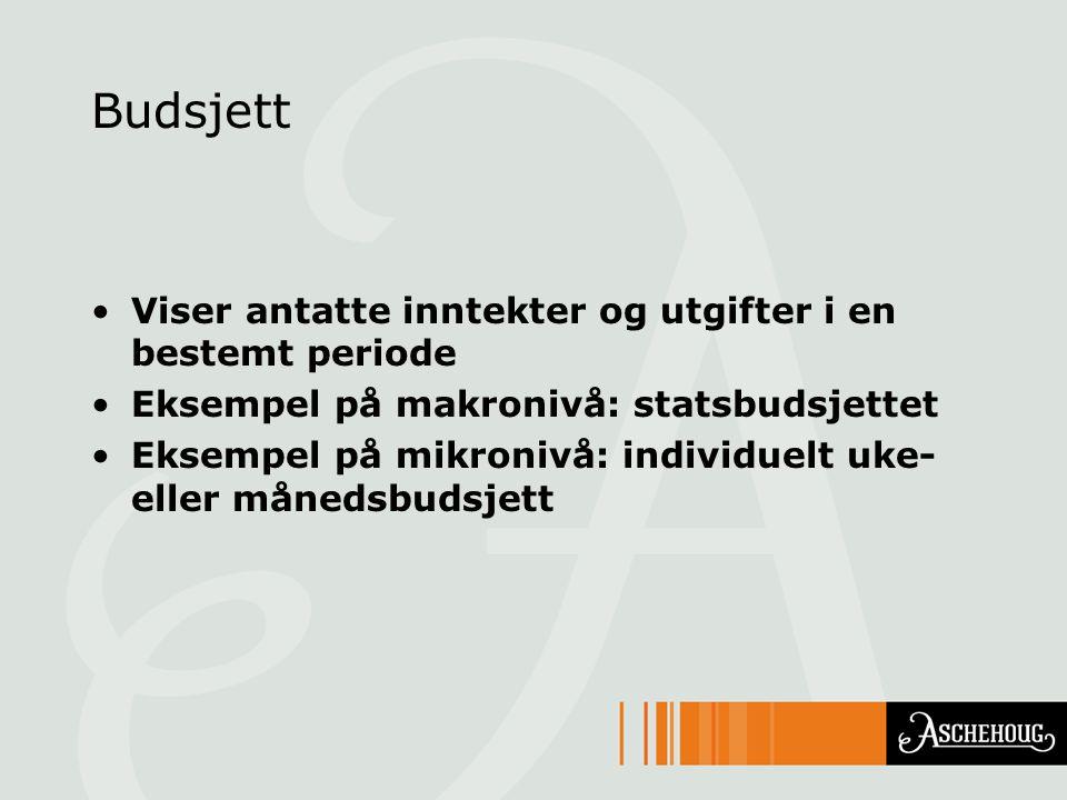 Budsjett Viser antatte inntekter og utgifter i en bestemt periode Eksempel på makronivå: statsbudsjettet Eksempel på mikronivå: individuelt uke- eller