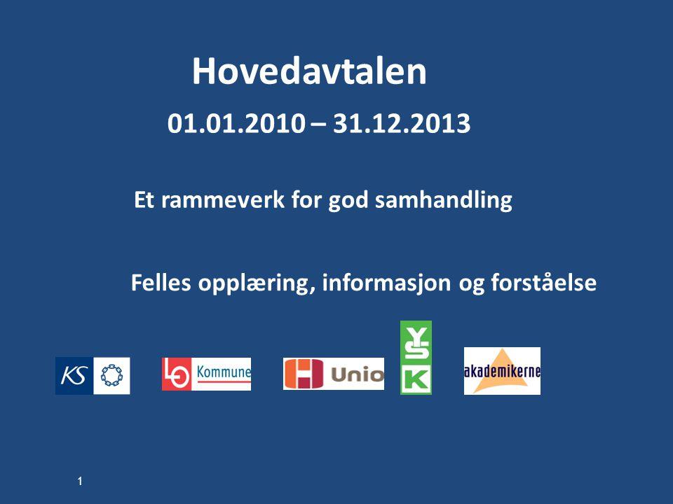 Hovedavtalen 01.01.2010 – 31.12.2013 Et rammeverk for god samhandling Felles opplæring, informasjon og forståelse 1
