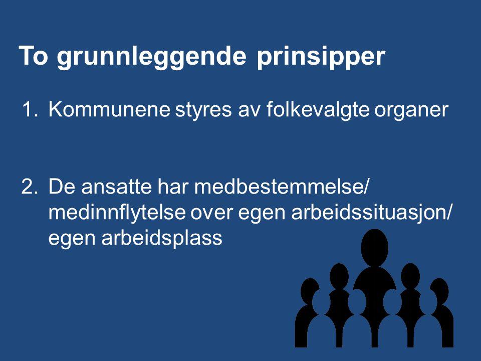 3 To grunnleggende prinsipper 1.Kommunene styres av folkevalgte organer 2.De ansatte har medbestemmelse/ medinnflytelse over egen arbeidssituasjon/ egen arbeidsplass
