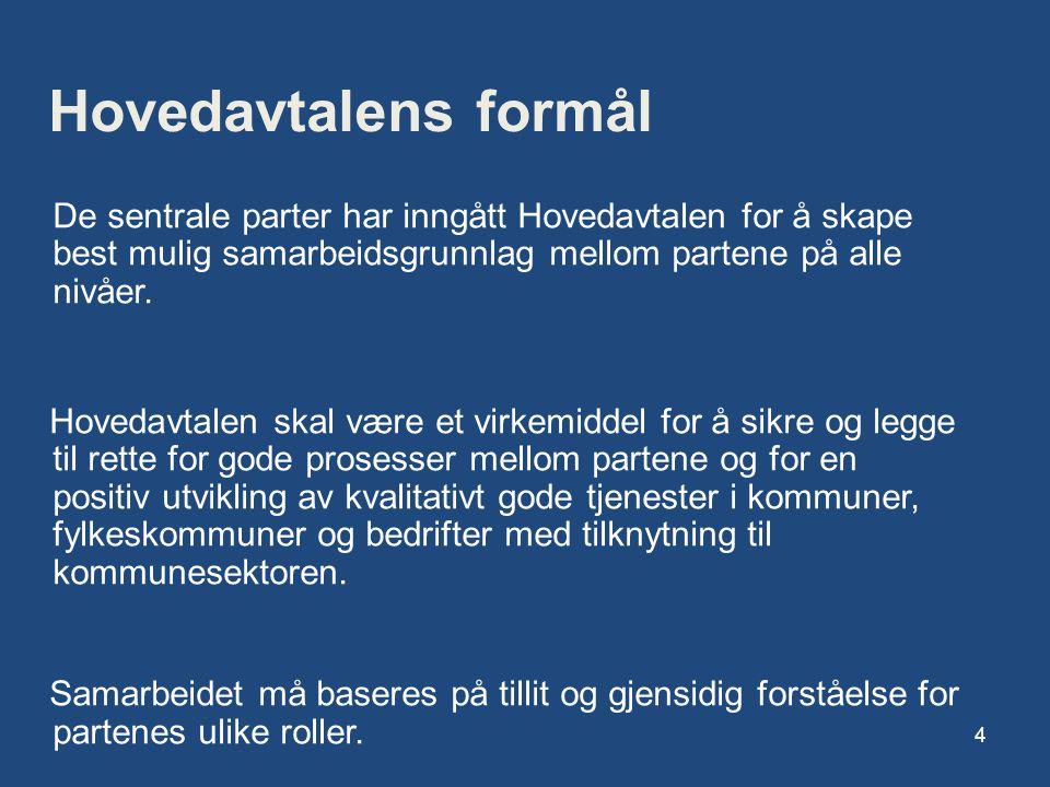 4 Hovedavtalens formål De sentrale parter har inngått Hovedavtalen for å skape best mulig samarbeidsgrunnlag mellom partene på alle nivåer.