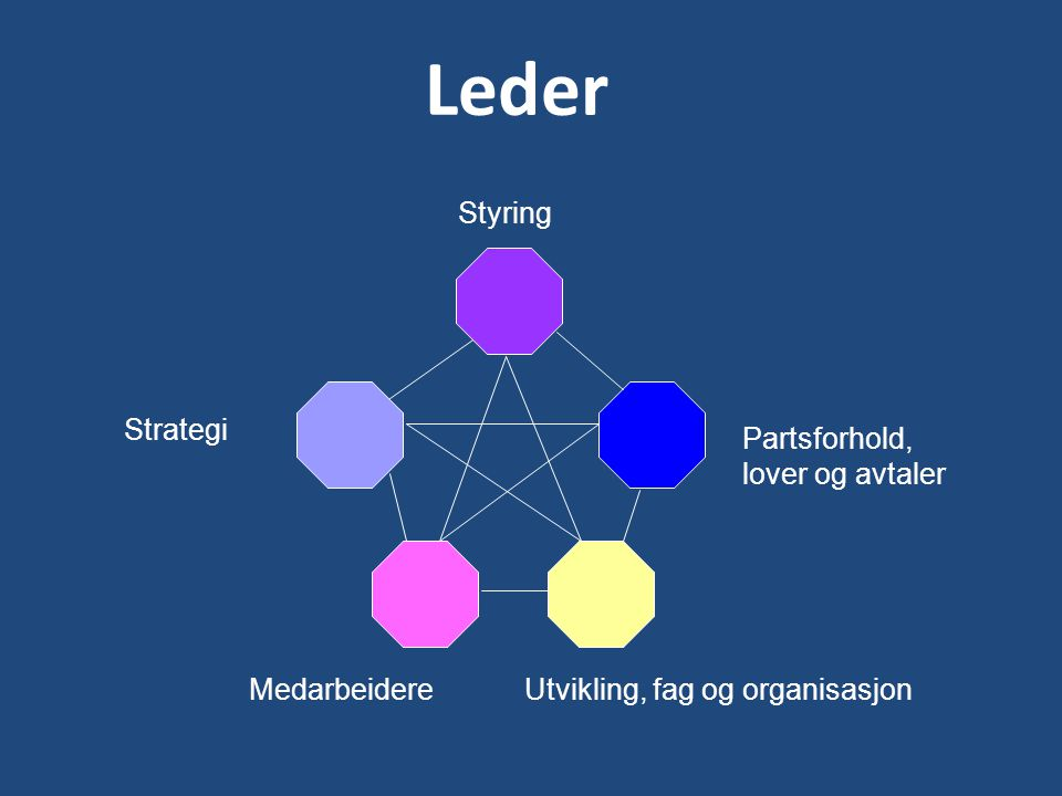 Leder Styring Strategi MedarbeidereUtvikling, fag og organisasjon Partsforhold, lover og avtaler