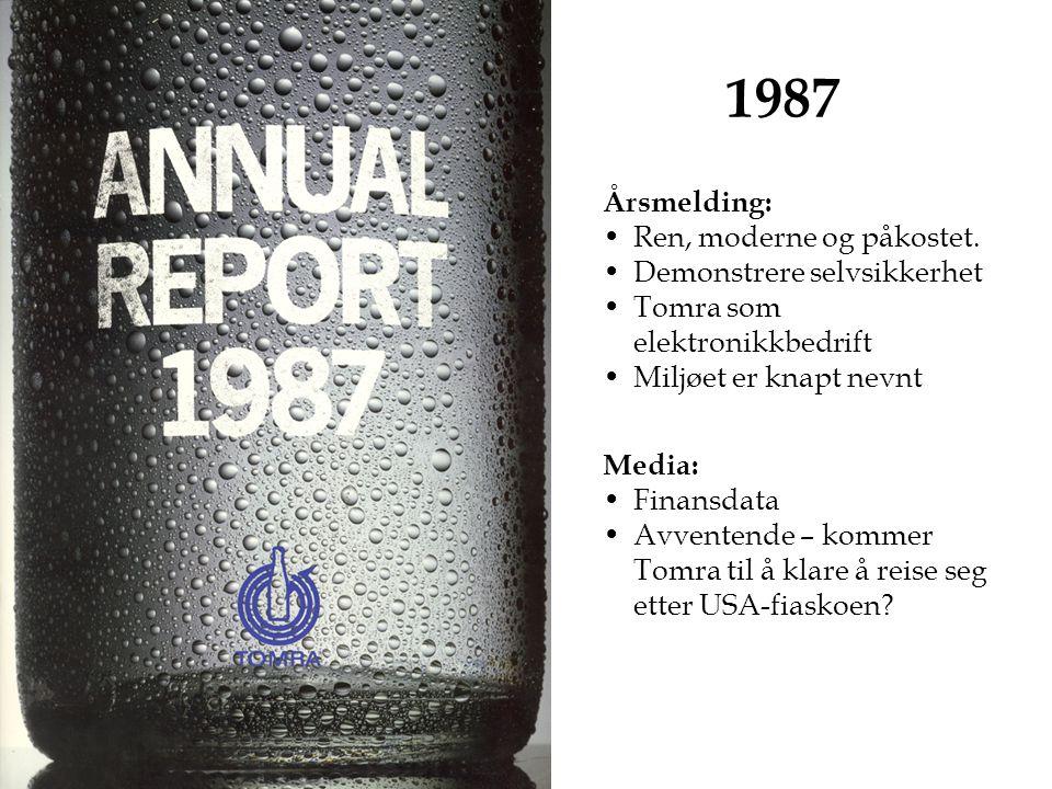 1987 Årsmelding: Ren, moderne og påkostet.