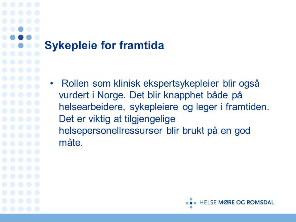 Sykepleie for framtida Rollen som klinisk ekspertsykepleier blir også vurdert i Norge.