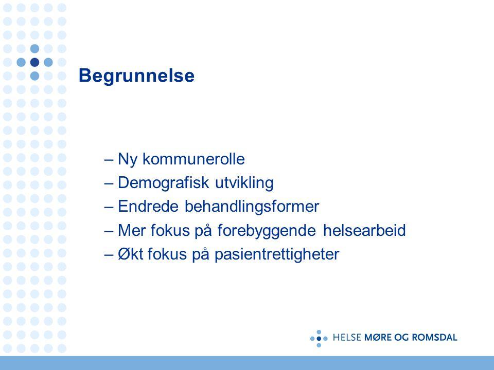 Begrunnelse –Ny kommunerolle –Demografisk utvikling –Endrede behandlingsformer –Mer fokus på forebyggende helsearbeid –Økt fokus på pasientrettigheter