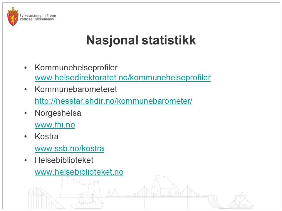 Nasjonal statistikk Kommunehelseprofiler www.helsedirektoratet.no/kommunehelseprofiler www.helsedirektoratet.no/kommunehelseprofiler Kommunebarometere