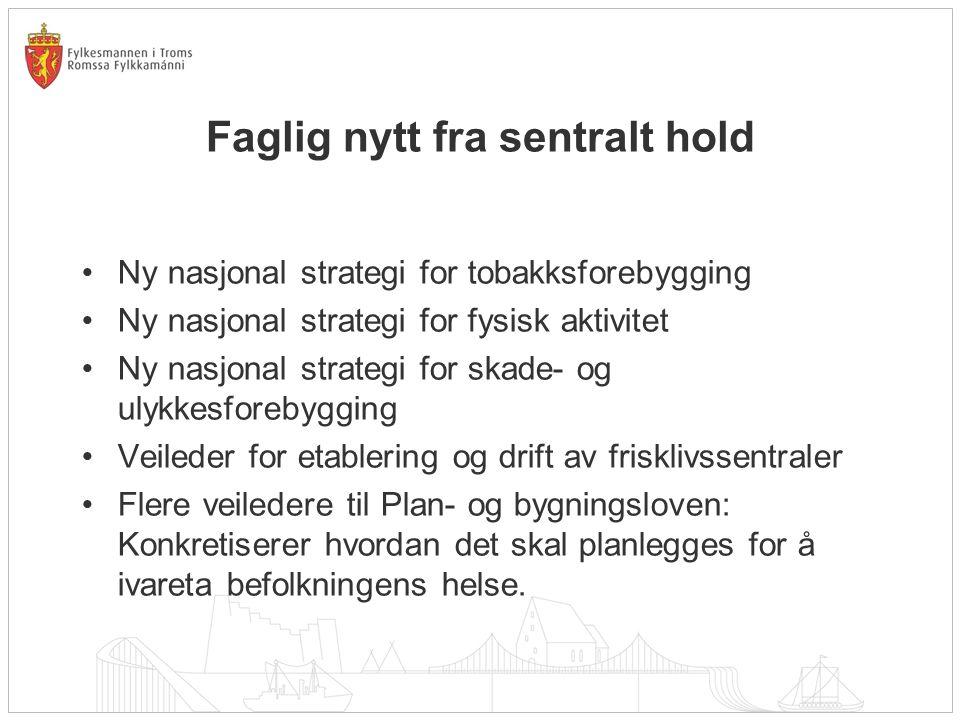 Faglig nytt fra sentralt hold Ny nasjonal strategi for tobakksforebygging Ny nasjonal strategi for fysisk aktivitet Ny nasjonal strategi for skade- og