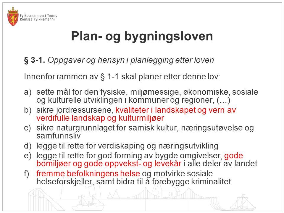 Plan- og bygningsloven § 3-1. Oppgaver og hensyn i planlegging etter loven Innenfor rammen av § 1-1 skal planer etter denne lov: a)sette mål for den f