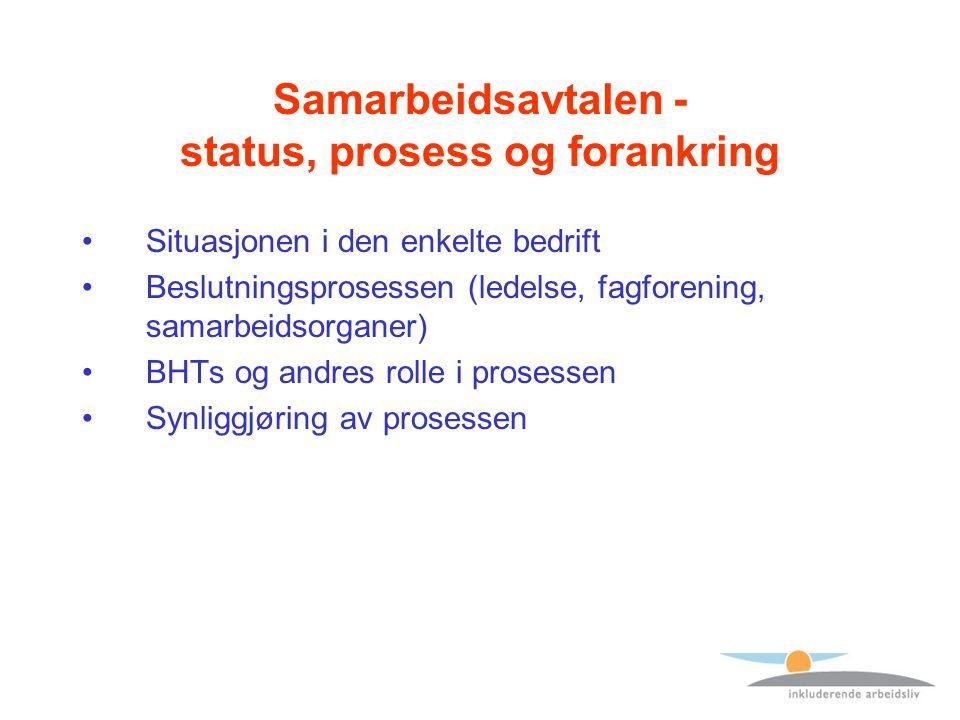 Samarbeidsavtalen - status, prosess og forankring Situasjonen i den enkelte bedrift Beslutningsprosessen (ledelse, fagforening, samarbeidsorganer) BHTs og andres rolle i prosessen Synliggjøring av prosessen