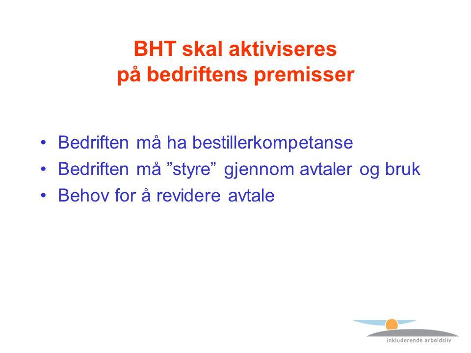 BHT skal aktiviseres på bedriftens premisser Bedriften må ha bestillerkompetanse Bedriften må styre gjennom avtaler og bruk Behov for å revidere avtale
