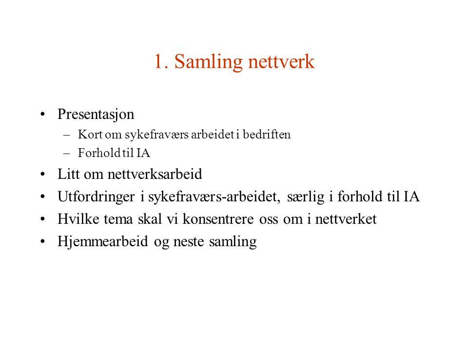 1. Samling nettverk Presentasjon –Kort om sykefraværs arbeidet i bedriften –Forhold til IA Litt om nettverksarbeid Utfordringer i sykefraværs-arbeidet