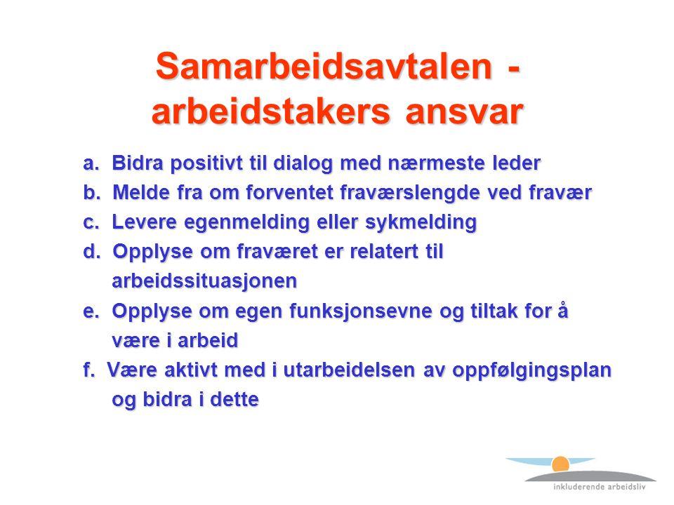 Samarbeidsavtalen - arbeidstakers ansvar a. Bidra positivt til dialog med nærmeste leder a.