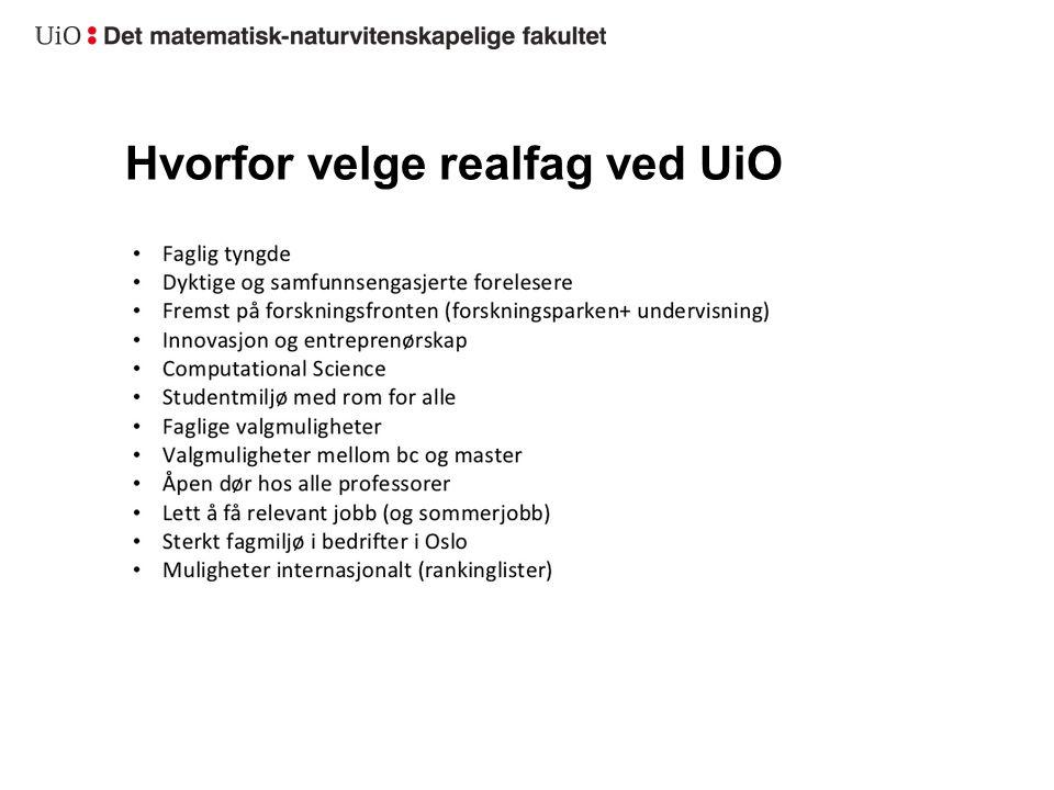 Hvorfor velge realfag ved UiO