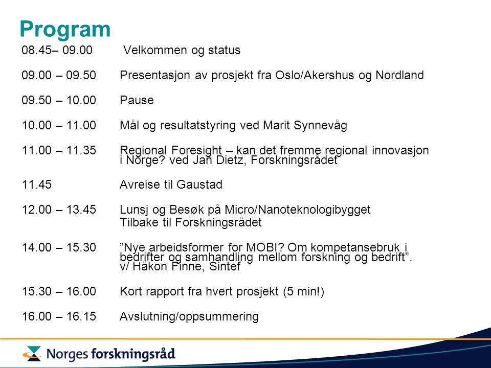 Program 08.45– 09.00 Velkommen og status 09.00 – 09.50 Presentasjon av prosjekt fra Oslo/Akershus og Nordland 09.50 – 10.00Pause 10.00 – 11.00Mål og r