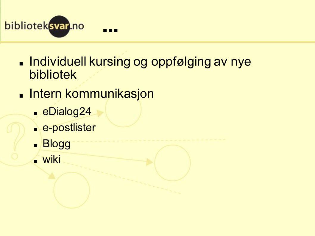 ... Individuell kursing og oppfølging av nye bibliotek Intern kommunikasjon eDialog24 e-postlister Blogg wiki