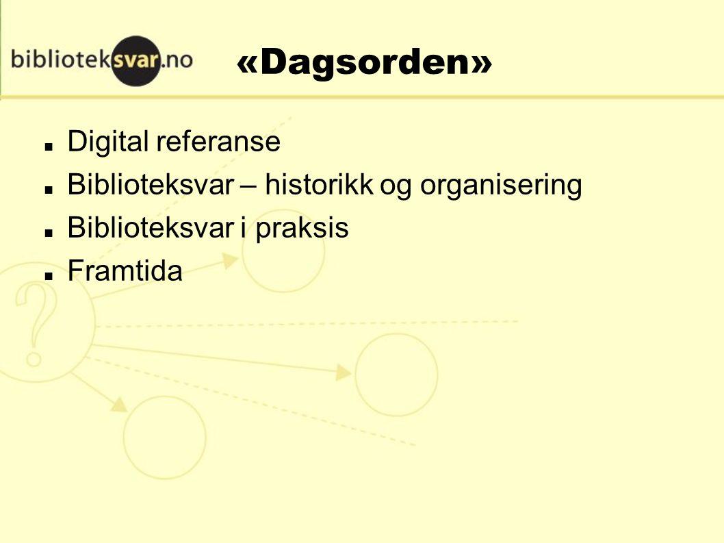 «Dagsorden» Digital referanse Biblioteksvar – historikk og organisering Biblioteksvar i praksis Framtida