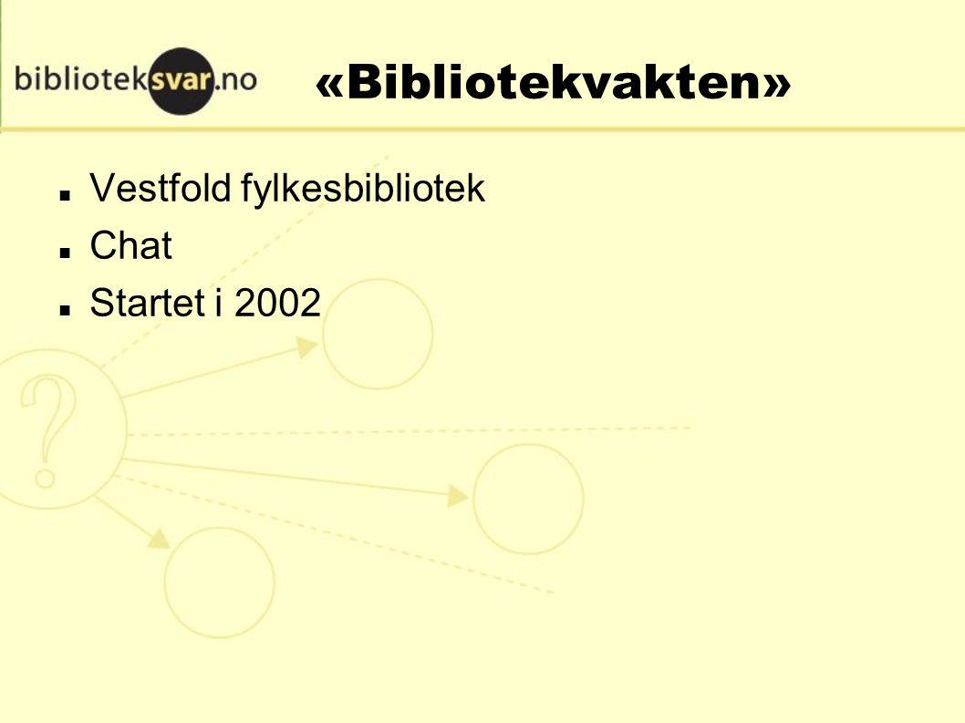 «Bibliotekvakten» Vestfold fylkesbibliotek Chat Startet i 2002