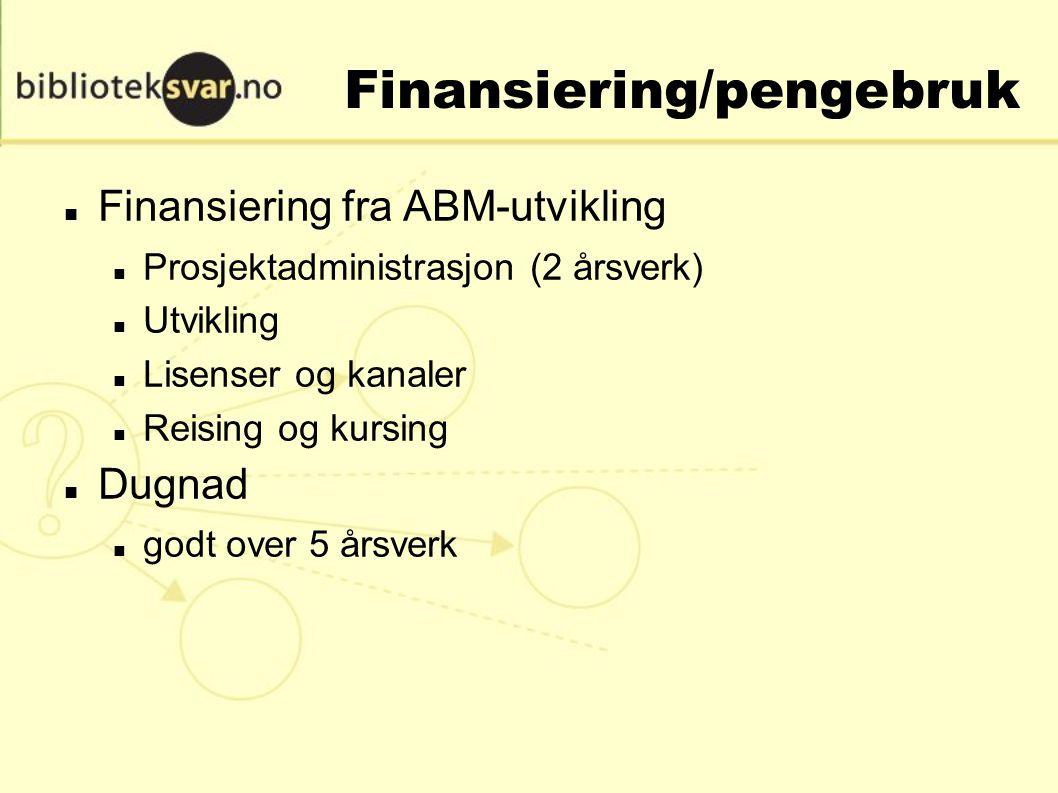 Finansiering/pengebruk Finansiering fra ABM-utvikling Prosjektadministrasjon (2 årsverk) Utvikling Lisenser og kanaler Reising og kursing Dugnad godt over 5 årsverk