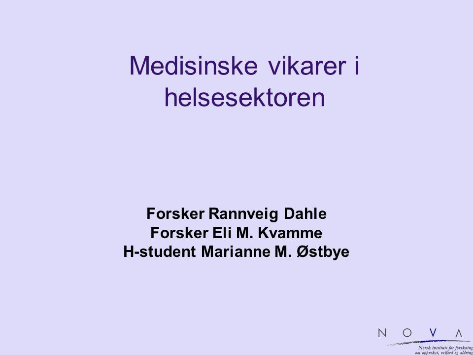 Medisinske vikarer i helsesektoren Forsker Rannveig Dahle Forsker Eli M. Kvamme H-student Marianne M. Østbye