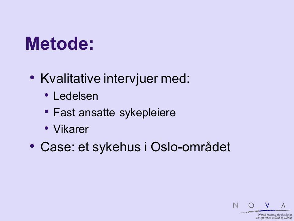 Metode: Kvalitative intervjuer med: Ledelsen Fast ansatte sykepleiere Vikarer Case: et sykehus i Oslo-området