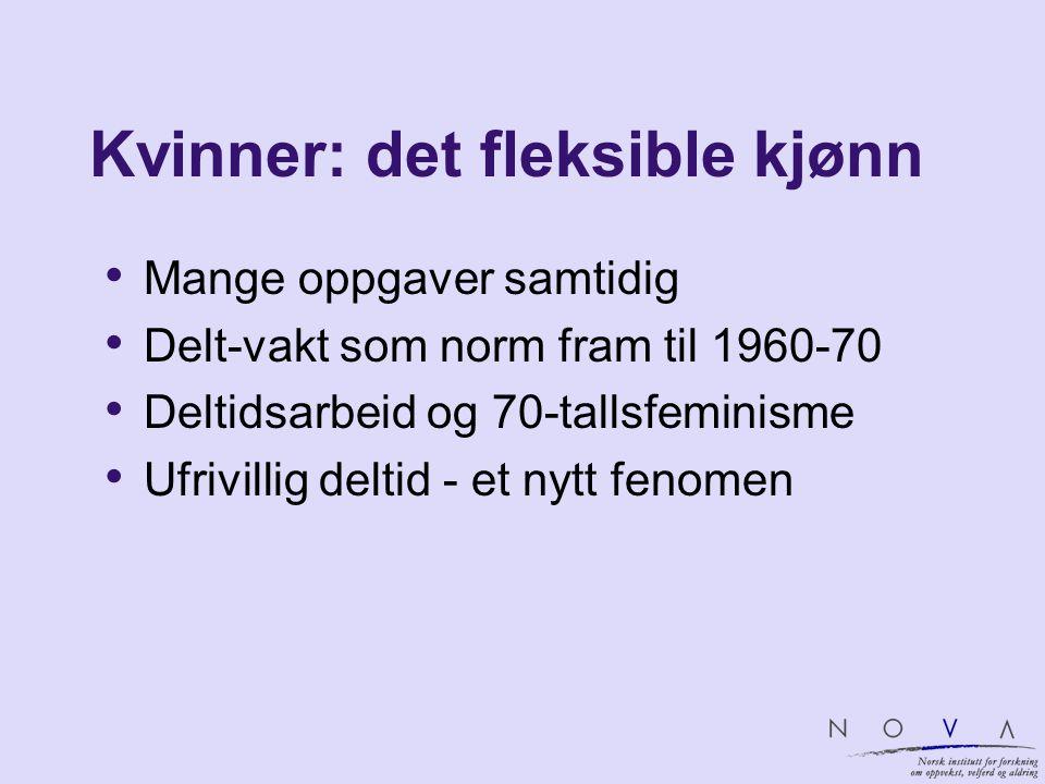 Kvinner: det fleksible kjønn Mange oppgaver samtidig Delt-vakt som norm fram til 1960-70 Deltidsarbeid og 70-tallsfeminisme Ufrivillig deltid - et nyt